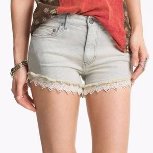 FREE PEOPLE Lace Trim Railroad Stripe Jean Shorts